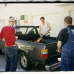 The moment just before music was changed forever: unloading the gear before historic first session. (1998)